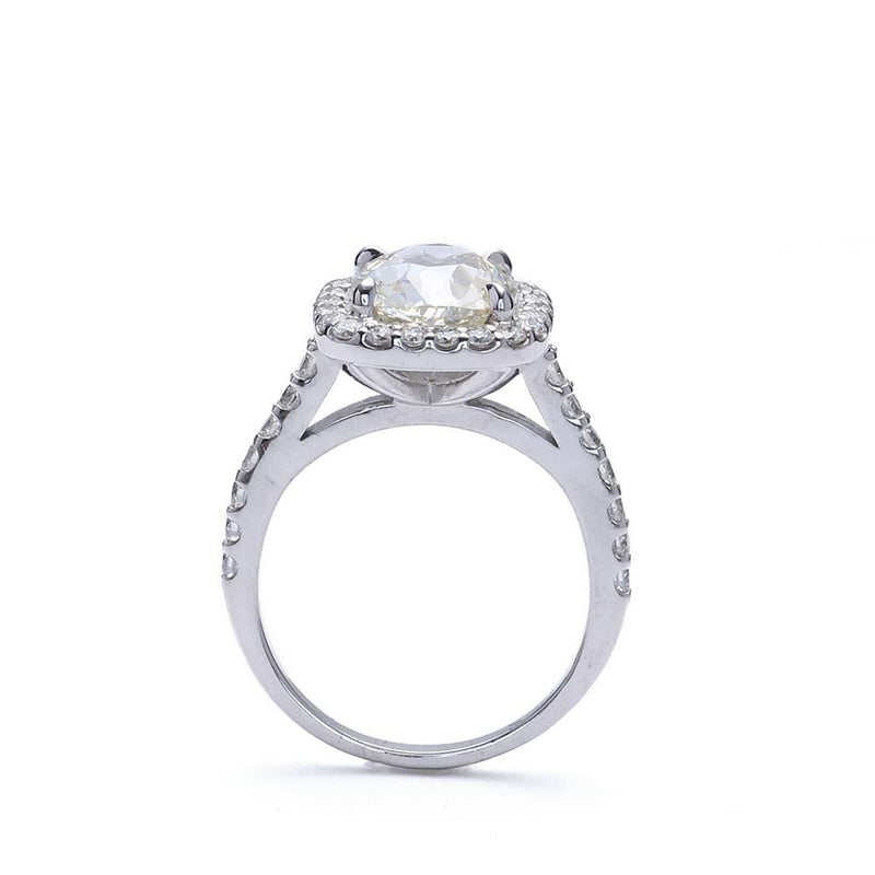 Halo Ring with Old Mine Diamond #VR181219-2 - Leigh Jay & Co.
