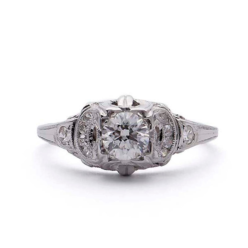 Art Deco Domed Engagement Ring #VR190417-3 - Leigh Jay & Co.