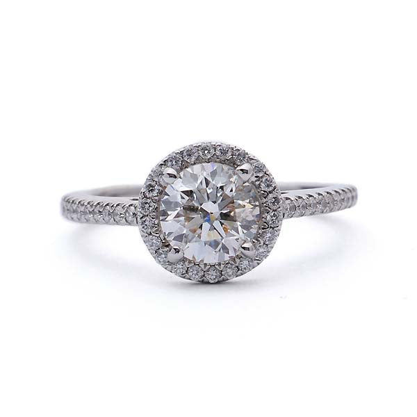 Contemporary Halo Engagement Ring #VR190521-6 - Leigh Jay & Co.