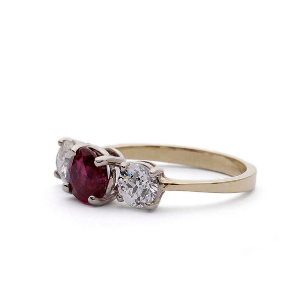 Ruby and Diamond Three stone ring #VR190710-11 - Leigh Jay & Co.
