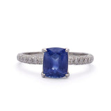 Micro Pave diamond ring with Cushion Sapphire #VER190710-8