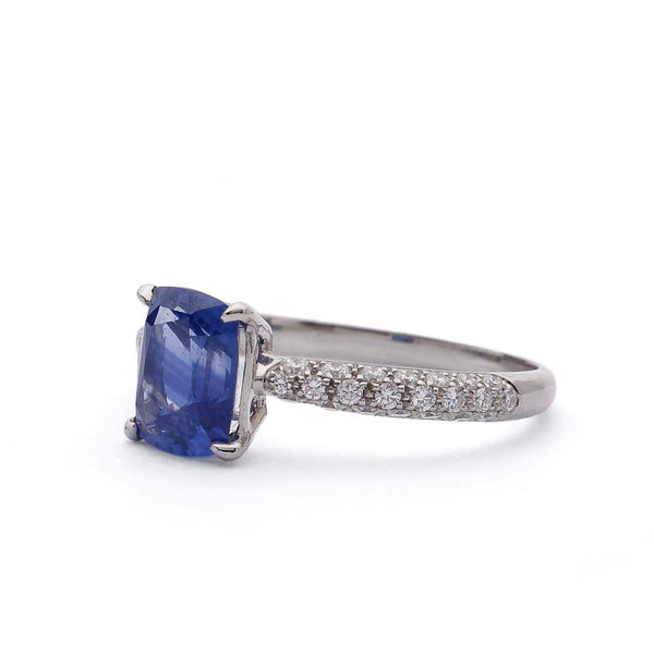 Micro Pave diamond ring with Cushion Sapphire #VER190710-8 - Leigh Jay & Co.