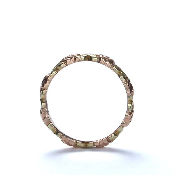 Pink and Gold Floral wedding band by Jabel. #VR313-04b - Leigh Jay & Co.