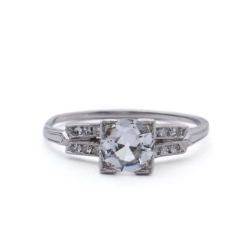 Circa 1930s Old European Cut White Sapphire engagement ring #VR377-11 - Leigh Jay & Co.