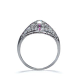 Circa 1920s diamond ring with Calibre ruby accents #VR459-05 - Leigh Jay & Co.
