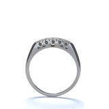 Platinum diamond vintage wedding band - by Masterpiece #VR464-04 - Leigh Jay & Co.