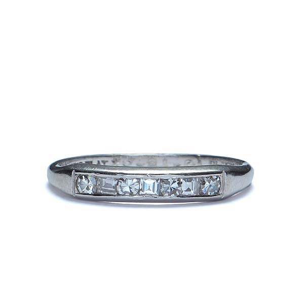 Circa 1950s Platinum and diamond wedding band with square and round diamonds #VR468-09 - Leigh Jay & Co.