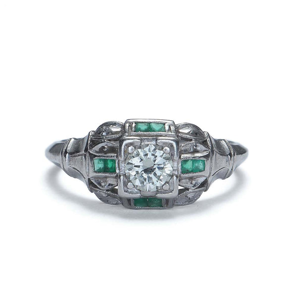 Art Deco Engagement ring set with Calibre cut Emeralds #VR503-11 - Leigh Jay & Co.
