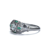 Art Deco Engagement ring set with Calibre cut Emeralds #VR503-11
