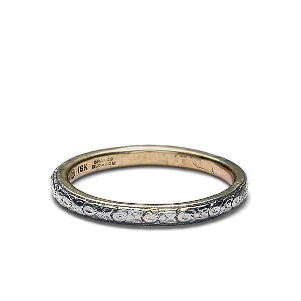 Antique Platinum and 18k yellow gold wedding band #VR506-09 - Leigh Jay & Co.