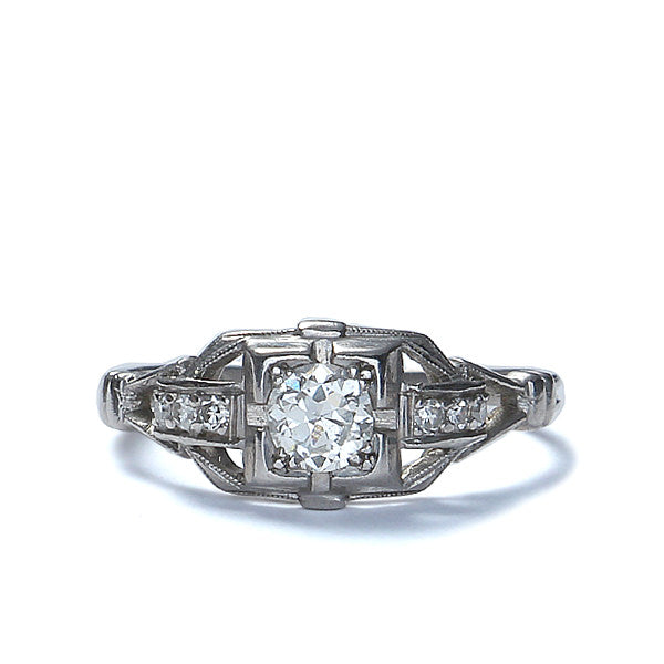 Circa 1920s Diamond Engagement ring by William B. Ogush of NYC #VR537-03 - Leigh Jay & Co.