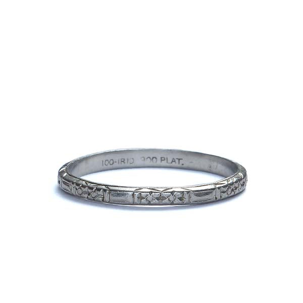 Art Deco Platinum wedding band #VR537-13 - Leigh Jay & Co.
