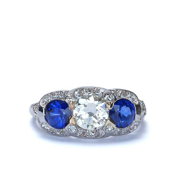 Stunning Art Deco Sapphire and Diamond Ring. #VR537-14 - Leigh Jay & Co.