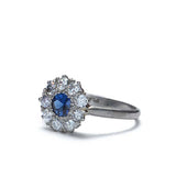 Early Art Deco Sapphire and diamond cluster ring #VR559-10
