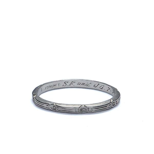 Circa 1930s platinum wedding band. #VR565-04 - Leigh Jay & Co.