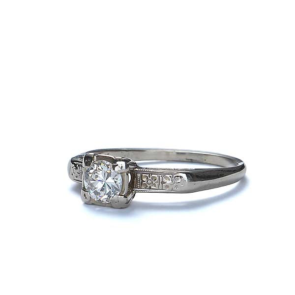 Circa 1940s Diamond Solitaire engagement ring. #VR566-13 - Leigh Jay & Co.