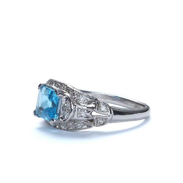 Circa 1950s Platinum with Square emerald cut Blue Topaz #VR569-04 - Leigh Jay & Co.