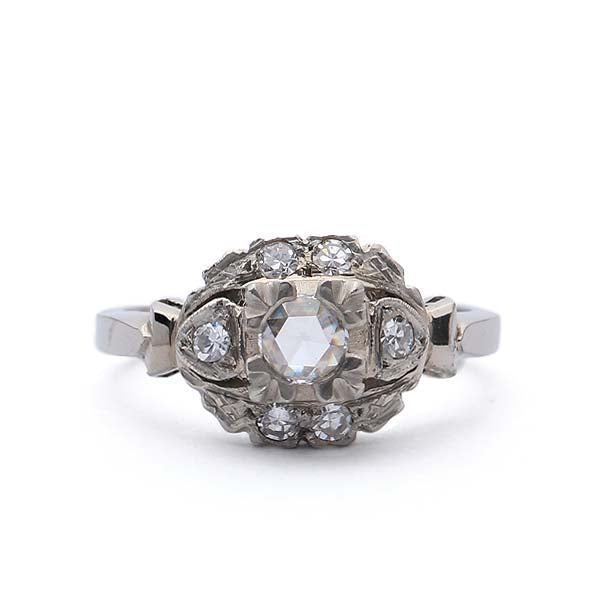 C. 1930s Engagement ring set with a rose cut diamond #VR569-07 - Leigh Jay & Co.