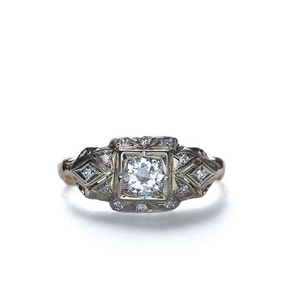 Circa 1940s diamond engagement #VR573-05 - Leigh Jay & Co.