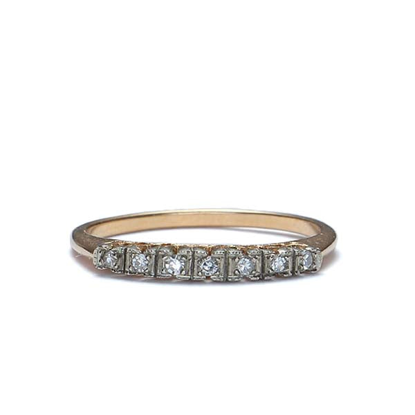 Circa 1940s Two-tone Diamond wedding band #VR587-06 - Leigh Jay & Co.