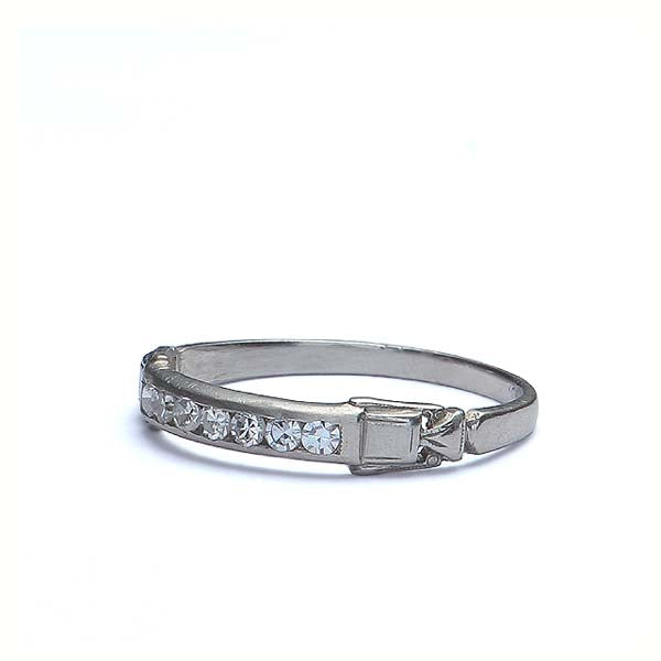 Art Deco Wedding band with diamonds #VR59-12 - Leigh Jay & Co.