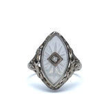 Circa 1920s cut Crystal glass ring #VR607-01 - Leigh Jay & Co.