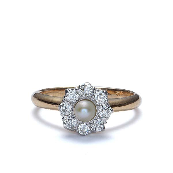 Early Art Deco Pearl and Diamond Cluster Ring #VR83 - Leigh Jay & Co.