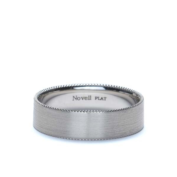 Platinum gear-edged Wedding band #XN16697-6 - Leigh Jay & Co.