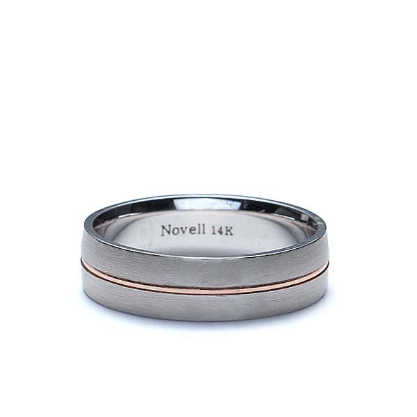 Mens 7mm wide band Palladium with rose gold accent stripe #ZNT01072-7-1 - Leigh Jay & Co.