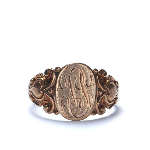 Art Nouveau Signet ring in 10K Rose Gold. #VR0107-01 - Leigh Jay & Co.
