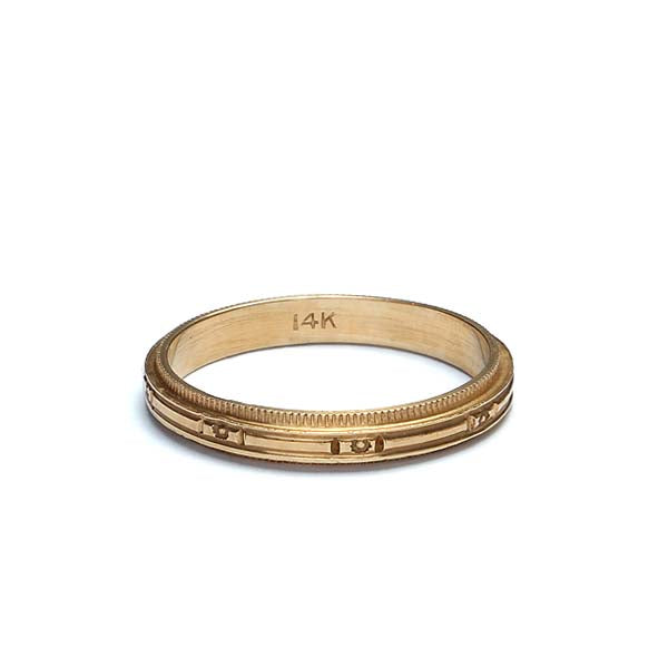 14K Yellow Gold vintage ladies wedding band #Vr1106a - Leigh Jay & Co.
