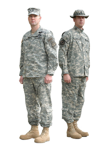Two military soldiers with camouflage unifroms