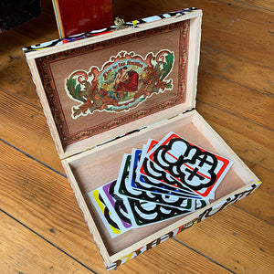 MQ - Wood Cigar Box w/ Sticker Pack
