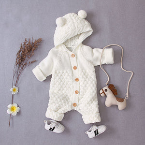 Baby Unisex Hooded Knitted Rompers Sweater Jumpsuit