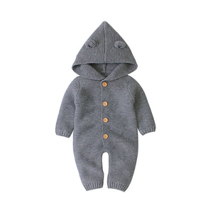 Baby Unisex Sweater Hooded Rompers Winter Warm Jumpsuit
