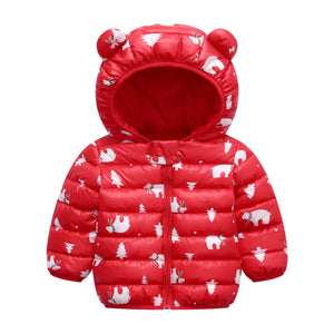 Cute 1- 5y baby girls jacket kids boys Light down coats with ear hoodie spring girl clothes infant children's clothing for boys