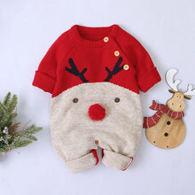 Load image into Gallery viewer, Christmas Baby Unisex Cartoon Deer Sweater Rompers