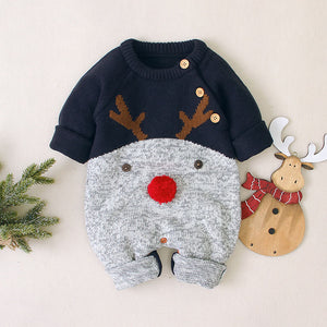 Christmas Baby Unisex Cartoon Deer Sweater Rompers