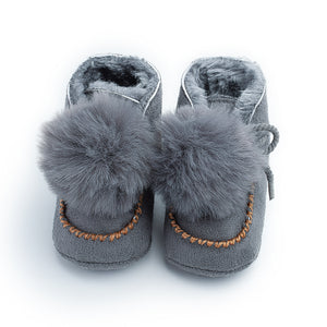 0-12M Toddler Baby Winter Pompom Ball Cute Shoes First Walkers Shoes