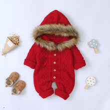 Load image into Gallery viewer, Baby Unisex Sweater Hooded Rompers With Fur Collar (No Real Fur)