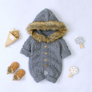 Baby Unisex Sweater Hooded Rompers With Fur Collar (No Real Fur)