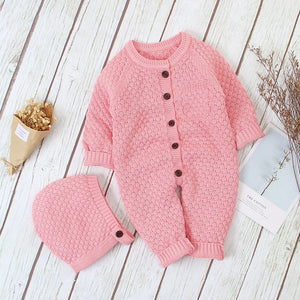 Cute Baby Unisex Knitted Rompers With Warm Hat