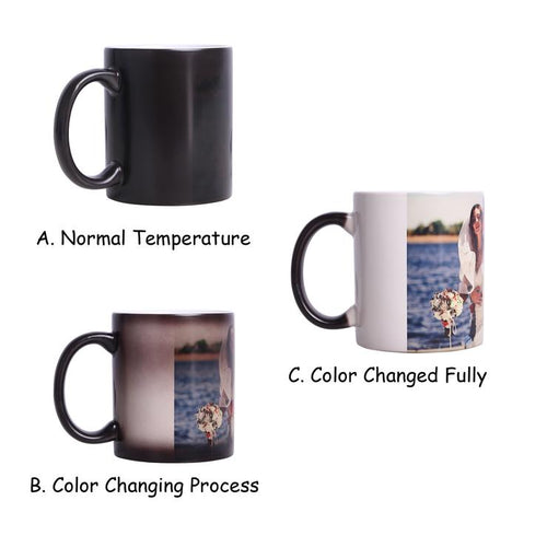 Custom Image Coffee Mug, Personalized Photo Cup - DIY Print Heat Sensitive Color Changing Birthday Christmas Gift