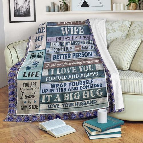 To My Wife Blanket from Husband | Personalized Custom Letter Print Blanket