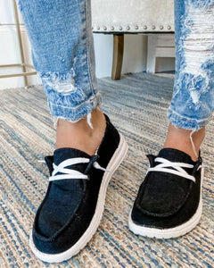 Women's Canvas Lace-Up Loafers