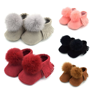 0-12M Toddler Baby Warm Winter Pompom Ball Shoes First Walkers Shoes