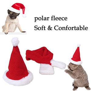 Hat & Scarf Xmas Costume Suit Dress Up for Pet Dog Cats