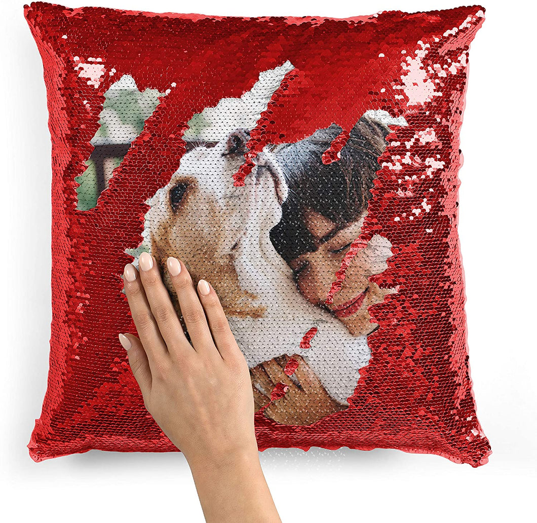 Personalized Photo Sequin Pillow  16''x16''