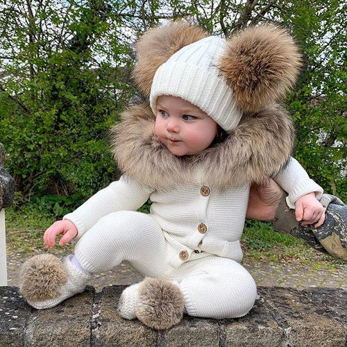 Unisex Baby Bear Rompers With Fur Collar (No Real Fur)