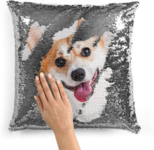Load image into Gallery viewer, Personalized Photo Sequin Pillow  16''x16''